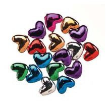 Metallic Heart Beads - Assorted Colors (6 x 9mm, 100 pieces)