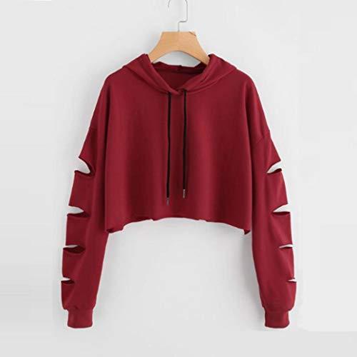 maglione Rosso con Ningsun Cappuccio Allentato Pullover lunga Blazer Felpa Cappotto Manica Da donna Felpa Moda Casuale fori Hoodie solida Camicetta AnFwqHrzAZ