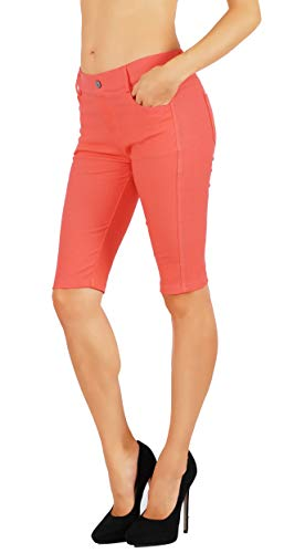 - Fit Division Women's Jean Look Cotton Blend Jeggings Tights Slimming Full Lenght Capri and Classic Bermuda Shorts Leggings Pants S-3XL (S US Size 2-4, FDJN825-COR)