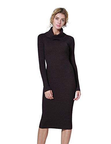 ninovino Women's Cowl Neck Stretchy Ribbed Long Sleeve Knit Sweater Dress Deep Coffee-S