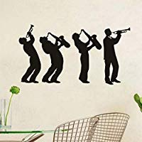 Musician Wall Stickers Creative Music Group Art Design Boys Playing Saxophone Silhouette Wall Decals Decor Living Room 80x43cm