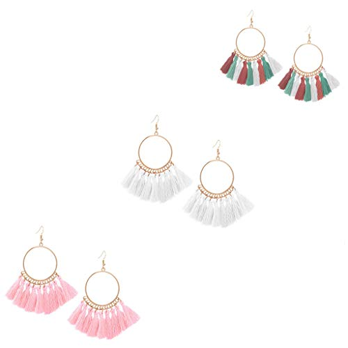 FEDULK 3 Pairs Dangle Earrings Tassel Hoop Fringe Bohemian Drop Earrings Stud Earrings Gift for Girls Women(D)