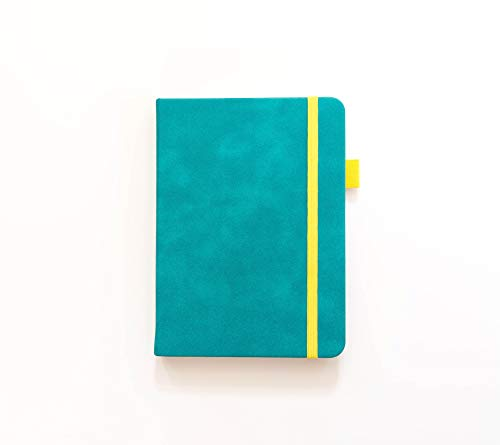 Dotted Journal by Scribbles That Matter - Create Your Own Unique Life Organizer - No Bleed Hardcover Dotted Notebook - Inner Pocket - Fountain Pens Friendly Paper - A6-ish Teal