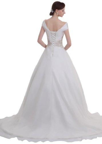 Linie Brautkleid tiefem GEORGE Prinzessin Elfenbein Duchesse V Ausschnitt charmante BRIDE IIpqwv
