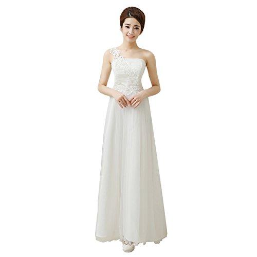Hochzeitgäste Lace Shoulder Ballkleid Damen Weiß Taille Chiffon Brautjungfern Tüll für und langes AUBIG Partykleid Elegant und Elegant hohe One Abendkleid Kleid Dress IUWSqaAw
