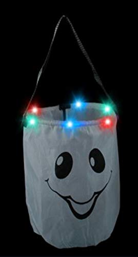 LED Light Up Pumpkin or Ghost Trick-Or-Treat Candy Bag for Halloween by Mammoth Sales -