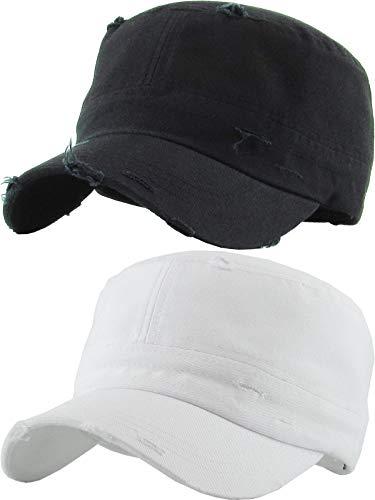 H-217-2-D0609 Cadet Hat 2-Pack: Distressed Black & White
