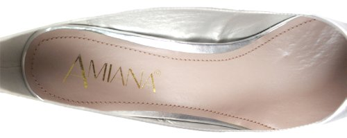 Amiana Womens 15-A5256 Silver Metallic PU Heels 38 (US 8 Women's) M
