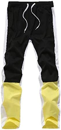 メンズルーズフィットピュアカラーポケットカラーブロックスモックウエストランニングパンツ