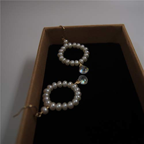 Moonstone Earrings Freshwater Cultured Pearl 14K Gold Filled Ear Hooks And ()