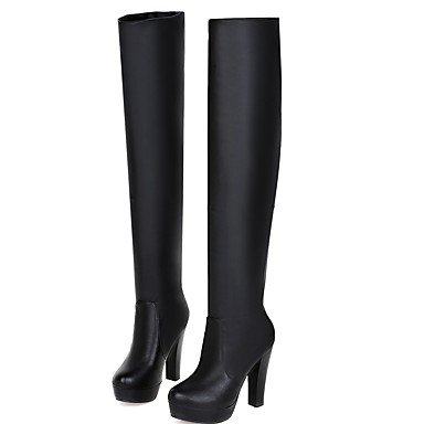 RTRY Women's Shoes PU Leatherette Fall Winter Comfort Novelty Fashion Boots Boots Chunky Heel Round Toe Over The Knee Boots For Party & US6 / EU36 / UK4 / CN36 Hihip