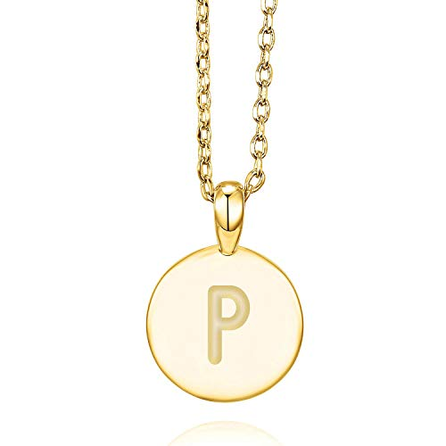 PAVOI 14K Yellow Gold Plated Letter Necklace for Women | Gold Initial Necklace for Girls | Letter P