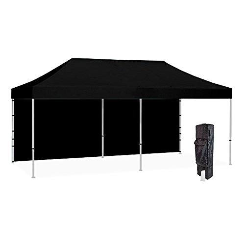 Vispronet 10x20 Black Canopy Tent Kit – Resists up to 25mph Wind Gusts – Includes Commercial Grade 10x20 Steel Frame, Water-Resistant Canopy Top and Backwall, Heavy Duty Roller Bag, and Stake Kit