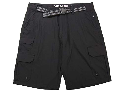 Plugg LLC Denali Mens Size 36 Stretch Lightweight Hybrid Belted Cargo Shorts, Black