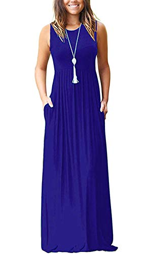 MISFAY Womens Summer Contrast Sleeveless Tank Top Floral Print Maxi Dress (2XL, Royal Blue) ()