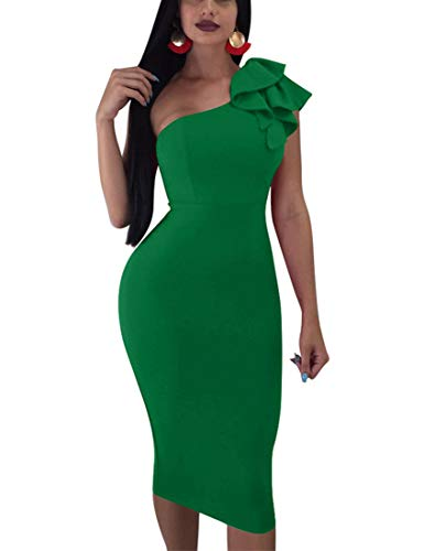 - Mokoru Women's Sexy Ruffle One Shoulder Sleeveless Bodycon Party Club Midi Dress, Small, Green