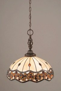 Toltec Lighting 82-DG-997 Elegante One-Light Pendant Dark Granite Finish with Italian Roman Jewel Tiffany Glass, 16-Inch