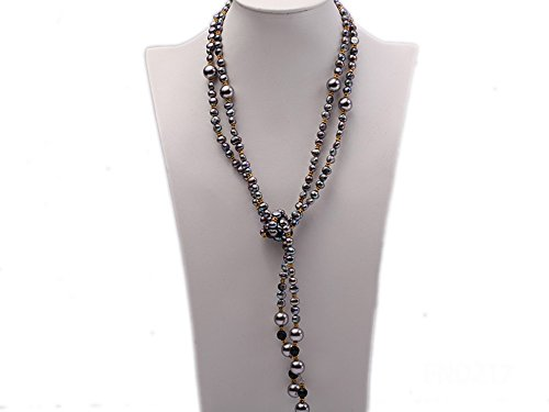 Genuine Seashell Pearl Necklace (JYX 7-8mm Black Flat Freshwater Pearl with Seashell Pearl Beads Opera Necklace)