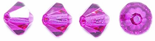 Preciosa Czech Crystal Bicone Beads Set, 5 by 5mm, Fuchsia, 144-piece