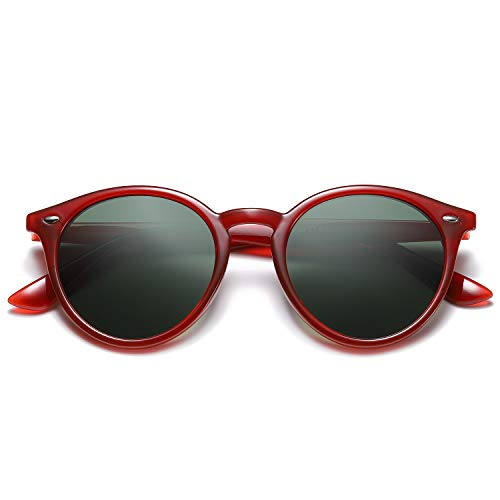 SOJOS Classic Round Polarized Sunglasses with Rivets UV400 Mirrored Lens SJ2069 with Crystal Red Frame/G15 Lens with Rivets