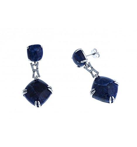 Fant'zi - Boucles d'oreille argent rhodié - sodalite - zircons