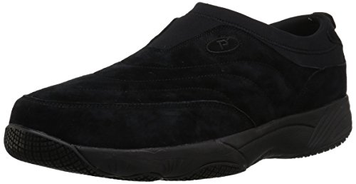 Propét Mens Wash N Wear Slip On Scamosciato Nero Camoscio