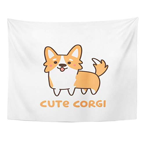 SSKBJTBDW Orange Drawing Cute Dog Breed Welsh Corgi Sticker Patch and Pug Animal Tapestry Soft Polyester Cotton Appropriate Size Nice Wall Hanging Decoration (Dragon City Best Dragons To Breed)