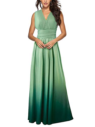 PERSUN Infinity Gown Dresses Multi-Way Strap Wrap Convertible Maxi Dresses For Womens (Small, Gradient Green)