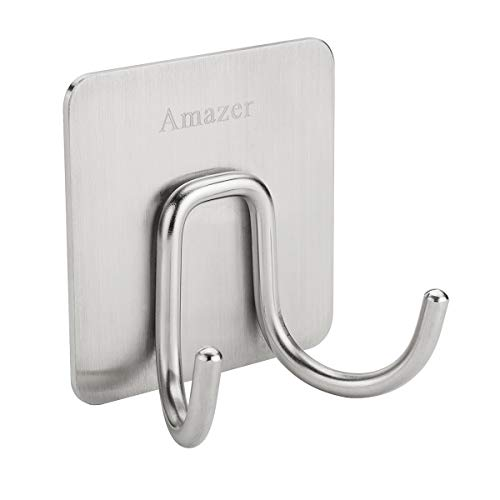 Amazer Towel Hook, 3M Adhesive Double Bath Towel Hook Robe Hook Coat Hooks Heavy Duty Bathroom Hooks, 304 Stainless Steel Wall Hook Sticky Hanging Hooks for Bathroom