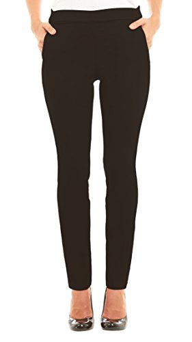 Velucci Slim Dress Pants For Women – Comfy Stretch Pull On Pant With Pockets