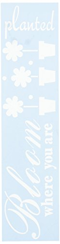 """CLEARSNAP Clear Scraps CSSMBRBLOOMPLT Border Stencils, 3"""" x 12"""", Bloom Where Your Planted, Blue"""