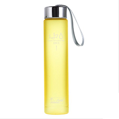 Yellow Portable Bike Sports Travel Unbreakable Plastic Water Bottle Camping Cup 280Ml by Travel Mugs