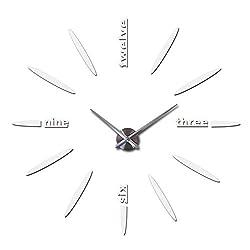 Wall Clock Clocks Watch Stickers DIY 3D Acrylic Mirror Home Decoration Quartz Balcony/Courtyard Needle,White,37Inch