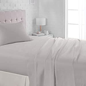 AmazonBasics Lightweight Super Soft Easy Care Microfiber Bed Sheet Set with 16″ Deep Pockets
