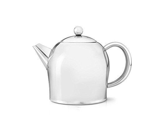 Teapot Glossy - bredemeijer Santhee Double Walled Teapot, 1.0-Liter Stainless Steel Glossy Finish with Glossy Accents