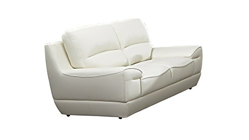 American Eagle Furniture EK018-W-LS Jackson Mid-Century Modern Italian Leather Living Room Loveseat, 71