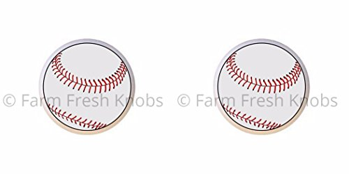 SET OF 2 KNOBS - Baseball II - Sports and Recreation - DECORATIVE Glossy CERAMIC Cupboard Cabinet PULLS Dresser Drawer KNOBS