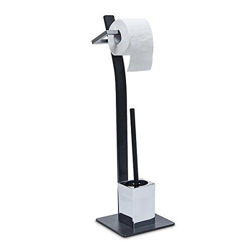 Relaxdays WC Garnitur GRAO HBT ca. 70 x 20 x 20 cm Bürstengarnitur grau mit Klobürste und Rollenhalter Metall WC-Ständer samt WC-Bürste schwarz und Bürstenhalter, Toilettenbürste, anthrazit