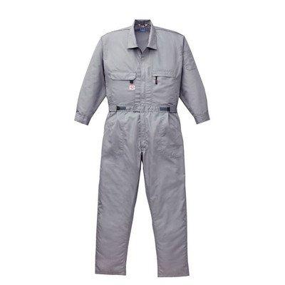 空調服 綿ポリ混紡 長袖ツヅキ服(つなぎ服) リチウムバッテリーセット BK-500T2C06S6 グレー 4L[通販用梱包品] B07DGWKZM1
