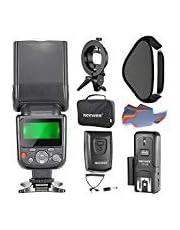 Neewer NW-670 TTL Flash Speedlite Blitzgeräte Kit für Canon DSLR Kameras, beinhaltet Blitzlicht, CT-16 Drahtloser Auslöser, 40x40 Zentimeter Softbox mit S-Typ Halterung und 20 Stück Farbfilter