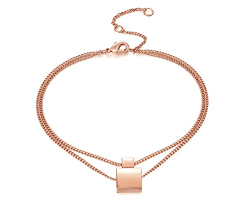 Layer Rose Gold Geometric Square Charm Anklet (Gold Square Charm)