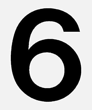 15mm, wei/ß in schwarz Ziffer 6 selbstklebend aus HartPlastic,15mm bis 200mm f/ür innen und au/ßen seewasserfest wei/ß oder rot