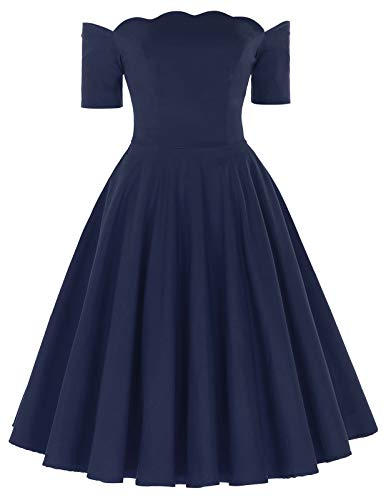 PAUL JONES Audrey Hepburn Little Navy Dress Off Shoulder Midi Dress Size L Navy