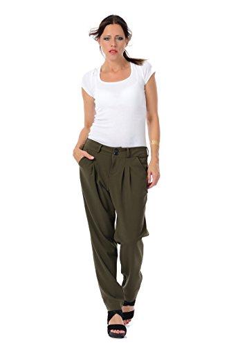 3Elfen pantaloni donna chino eleganti/pieghe pantalon nero, verde, grigio Verde