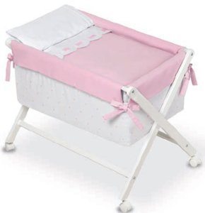 Bimbi Class–Baby, 68x 90x 71cm, Farbe Weiß und Rosa