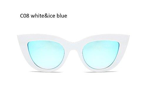 Sol de Damas Ojo Mujeres blanco Iceblue para de UV400 Mujeres Gris de Retro Gato Moda ZHANGYUSEN Cateye Gafas Clásico Whiteblack Gafas nOg7wgYq