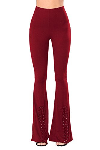 COCOLEGGINGS Ladys Lace Up Inspired 70s Flared Bell Bottom Pants Wine Red - Inspired 70s