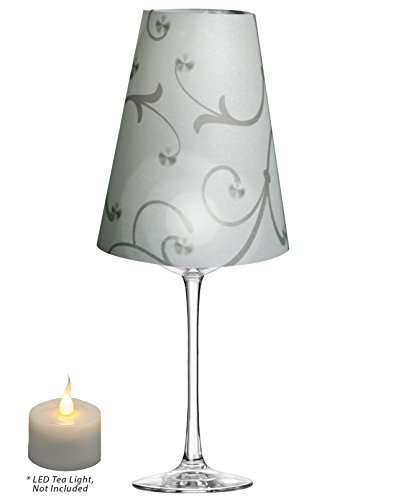 Royal Designs Flower Silhouette Vellum Paper Wine Glass Tea Light Lampshade- Party Centerpiece - Set of 20 - TLS-1016-20