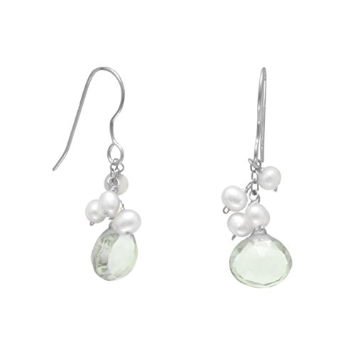 925 Sterling Silver Green Amethyst and Cultured Freshwater Pearl French Wire (Cultured Freshwater Pearl French Wire)