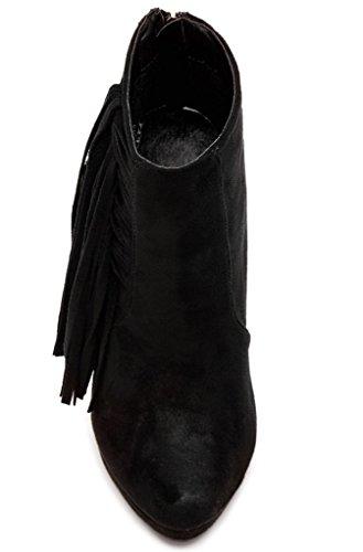 Stivaletti Con Frange Stiletto Donna In Bucco Nero